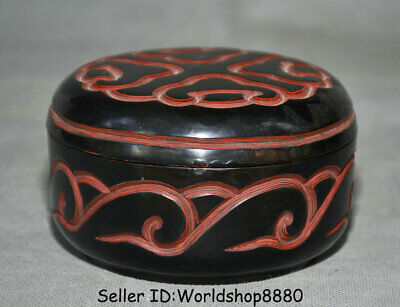 "4.4"" Qianlong Marked Old China Dynasty Red Lacquerware Flower Round Jewelry box"