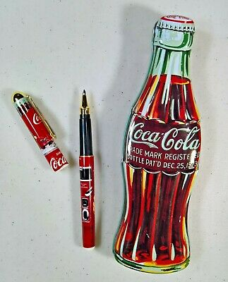 Vintage Coca-Cola Bottle Shaped Tin with Ball Point Ink Pen (Black) - 1996 Coke