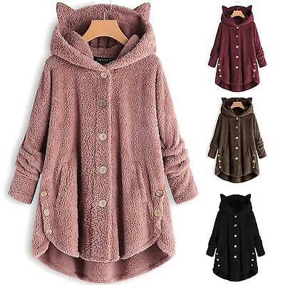 Oversize Womens Cat Ears Hoodies Hooded Teddy Bear Fleece Jacket Button Outwear