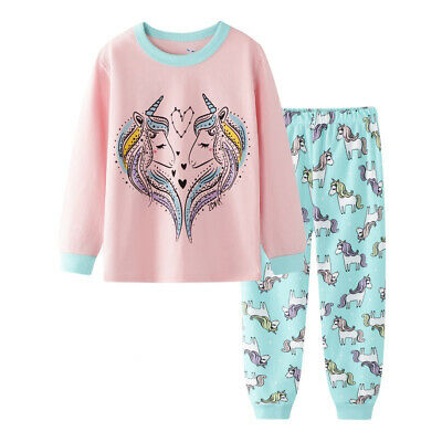 girls Unicorn horse PJS 100% cotton long sleeve pyjamas sets size1-6 pink