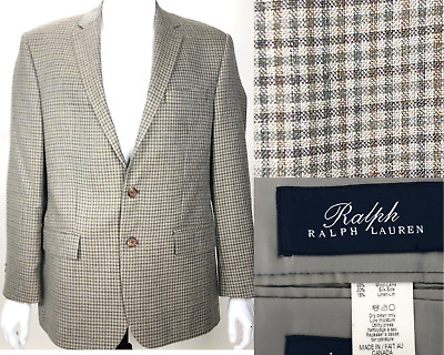 Ralph Lauren LRL Men's Wool Silk Linen Plaid Blazer Sport Coat Jacket 42R