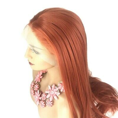 AU 24inch Synthetic Lace front wigs Women Daily Use Copper Red Natural Straight