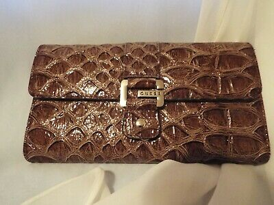 $38 GUESS by Marciano Suzy Q Vintage Logo Purse Wallet Studs Stone Taupe Black