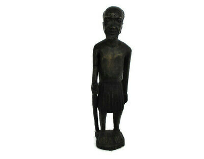 """Large Hand Carved Wooden Statue Figurine African Tribal Man 41.73"""""""
