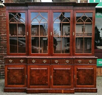 Large Georgian Style Repro Breakfront Display Bookcase - Home From Home Store
