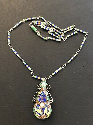 Vintage Antique CHINESE Sterling Silver ENAMEL LONG NECKLACE PENDANT