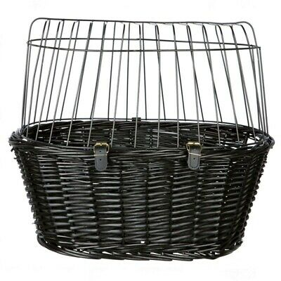 Dog Pet Wicker Front Mounted Bicycle Basket Carrier Wire Mesh + Cushion