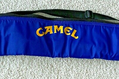 Joe Camel Can Cooler Zipper Sling Carrier 6 Cans Vintage Blue Cigarettes
