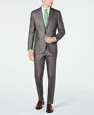 $395 Kenneth Cole Unlisted Men's Slim-Fit Plaid Suit 36R / 29 x 32 Silver Grey