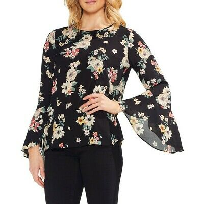 VINCE CAMUTO Women's Black Flared Sleeve Floral Story Blouse Shirt Top S TEDO