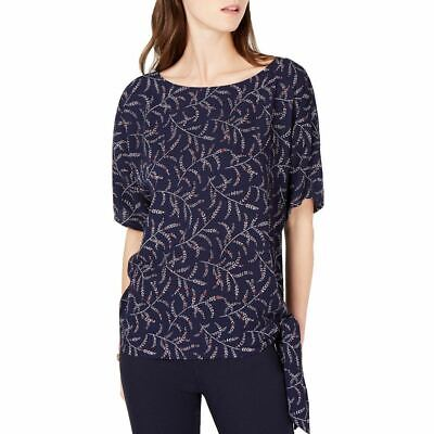 MICHAEL KORS NEW Women's Printed Side-tie Crepe Blouse Shirt Top M TEDO