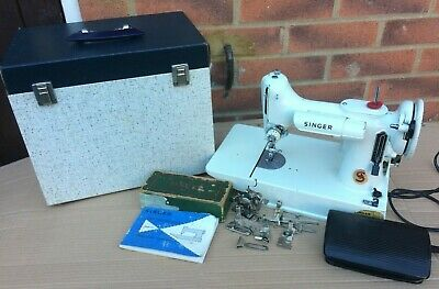 Antique White Singer 221K Featherweight Sewing Machine with attachments & Manual