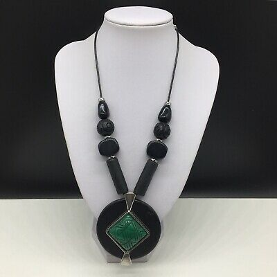 Chico's Black Green Beaded Statement Pendant Necklace Boho Tribal Wood Leather