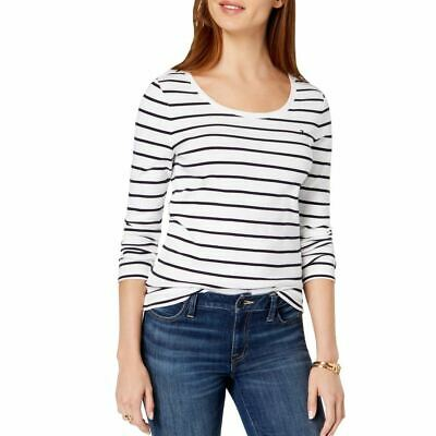 TOMMY HILFIGER Women's White/black Striped Flag-logo Casual Shirt Top XL TEDO
