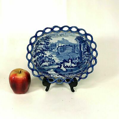 Early 19th Century Soft Paste English Blue Staffordshire Platter W/ Roman Ruins