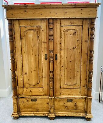 Lovely Antique English Country Pine Double Wardrobe, C1880