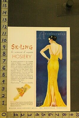 1930'S Art Deco Fashion Se-Ling Beauty Sexy French Walter Fred Nashville Ad Sx02