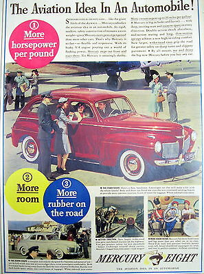 1941 newspaper Full Color poster ad MERCURY AUTOMOBILE + Firefighting suit