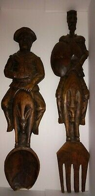 "Large 18+"" Wood Spoon & Fork Hand carved Men on mules? SOME DAMAGE STILL UNUSUAL"