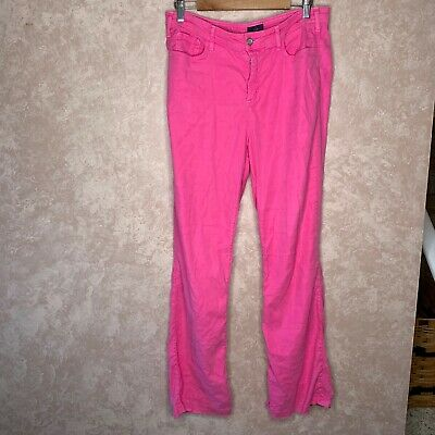 NYDJ Wylie Linen Trousers Size 14 Womens Pink Pants Lift Tuck Casual