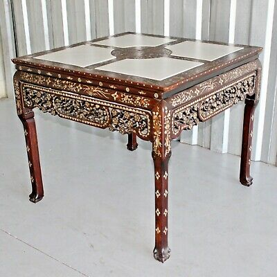 """RARE Chinese Qing Dynasty Hongmu & Mother of Pearl Center Table - 38"""" X 38"""""""