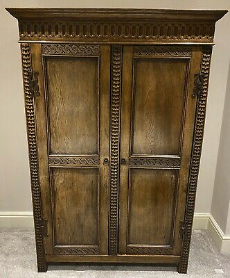 Lovely Antique English Country Oak Double Wardrobe, C1900