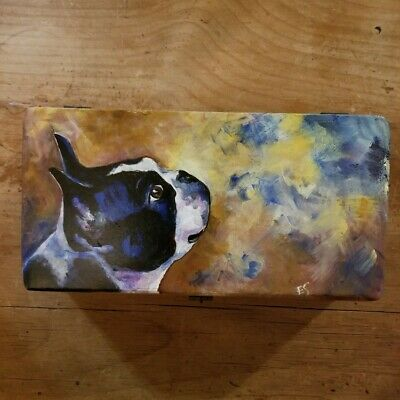 Vintage Handmade & Painted French Bulldog/Boston Terrier Wooden Box