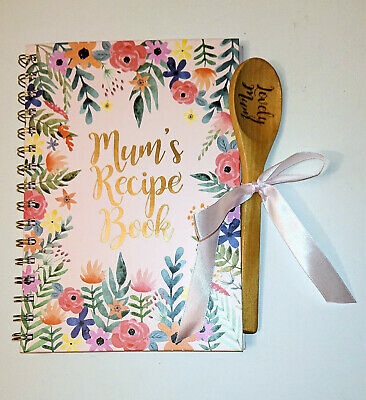 MUM'S RECIPE BOOK with LOVELY MUM WOODEN SPOON Blank Own Entry Wiro MOTHERS DAY