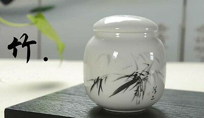 Chinese Jingdezhen Ceramic Bamboo Drawing Tea Caddy Tin Sealed Canisters