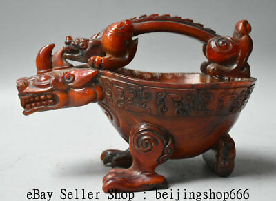 "8.8"" Qianlong Marked Old Chinese Ox Horn Dynasty Unicorn Beast Portable Wine Pot"