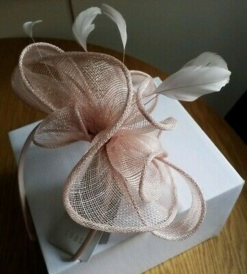 BNWT COAST Cora Small Headband Feather Fascinator Blush Dusky Pink In Box £39