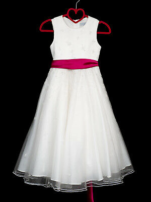 Pearce Fionda Girls Bridesmaid Dress Age 7 Ivory Lace Flower Girl Pink Dessy Bow