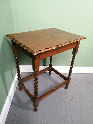 An Antique Early 20th Century Oak Barley Twist Occasional Lamp Table ~Delivery A