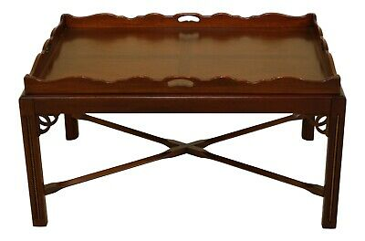 31787EC: Chippendale Style Large Mahogany Butler Coffee Table