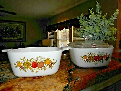 Vintage Corning Ware Set Petite Pan (2) with Pyrex Lid (1) ~ Spice of Life