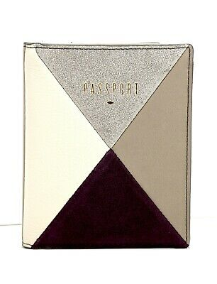 Fossil RFID Leather Passport Case Cover Multi Coloured