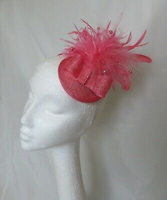 Living Coral Flamingo Salmon Pink Feather Percher Fascinator Wedding Races Ascot