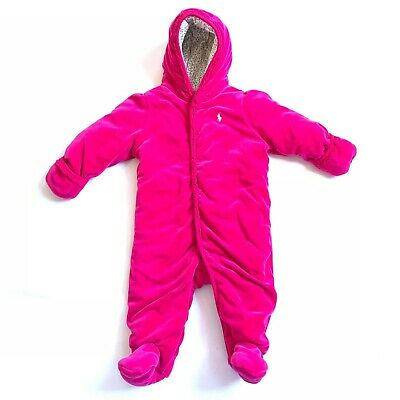Polo Ralph Lauren Girls 9M Pink Velour Jumpsuit One Piece Hooded Mittens