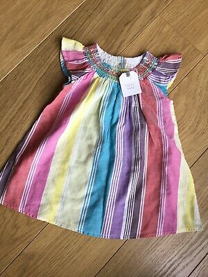 BNWT Next Baby Girl Brightly Coloured Striped Embroidered Dress 🧡 9-12 Months