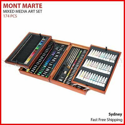 Mont Marte Mixed Media Art Set 174pcs Paint Acrylic Pencils Brushes Wooden Case