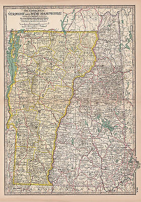Original 1897 Map of Vermont and New Hampshire by The Century Co,