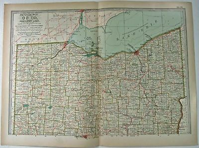 Original 1897 Map of Ohio Northern Part by The Century Co,