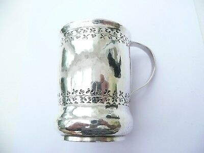 Fab Rare Liberty & Co Solid Silver Arts & Crafts Small Hammered Tankard Mug 1916