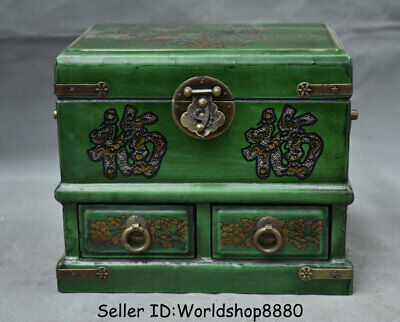 "8.2"" Old China Dynasty Wood Lacquerware Painting Flower Birds drawer storage box"