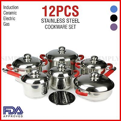 Stainless Steel Induction Ceramic Cookware Set Casserole Frypan Saucepan 12 Pcs