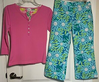 Lot Of 2 Lilly Pulitzer blue floral capris size 4 pink 3/4 sleeve top Small EUC