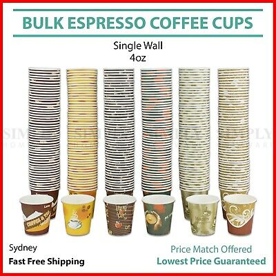 Disposable Coffee Espresso Paper Cup 4oz Shot Expresso Tasting Wall 120ml Bulk
