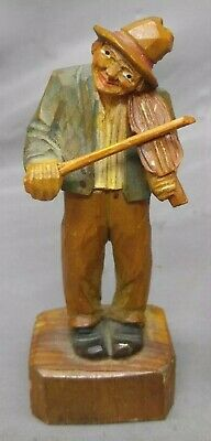 Antique Old Vintage Hand Carved Wooden Figure Musician Hobo Fiddle Player