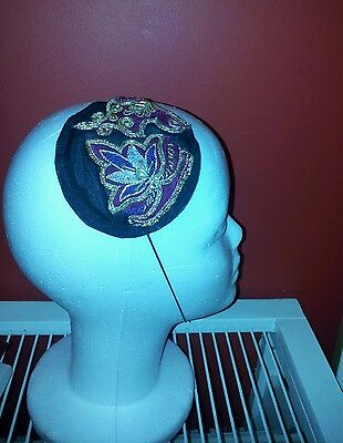 Handmade unique fascinator. Black with Asian embroidery burgundy/purple/ gold.