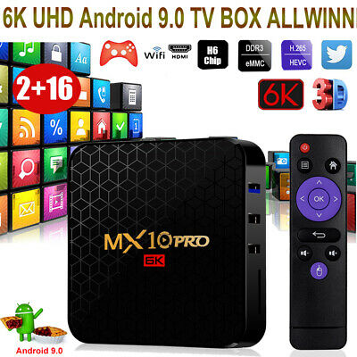 MX10PRO 6K Android 9.0 2+16G TV BOX Quad Core 2.4G WIFI H.265 3D ALLWINNER H6 FR